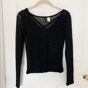 H&M Sheer Sparkle Black Long Sleeve Top